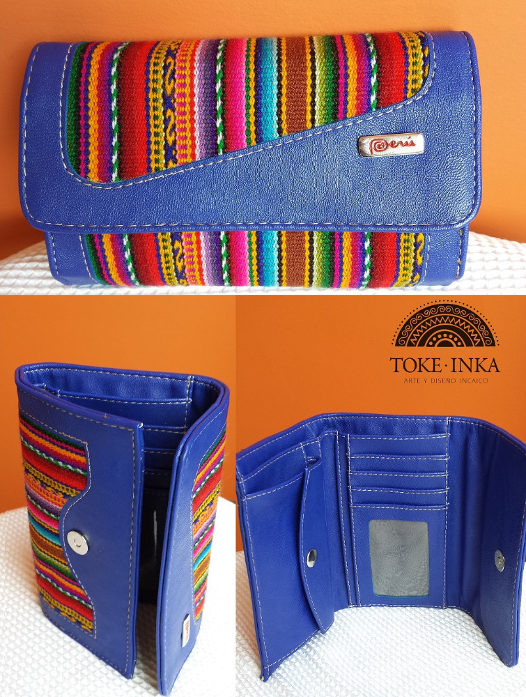 Women wallet with peruvian fabric, rustic wallet, woven wallet, EXCLUSIVE, 100% Peru - ToKe InKa