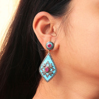 Pave Diamond Ruby Victorian Style Jewelry Enamel Dangle Earrings 925 Sterling Silver Earrings Wholesale