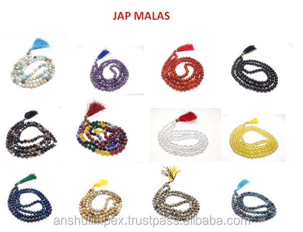 Wholesale Malas: Black Sulemani Agate Natural 6mm Jap Mala, mala beads necklace, rosary, wholesale lot