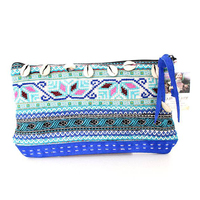 Stylishly Authentic Hmong Leather Cosmetic Purse with Shells - Blue