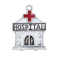 "Charm Pendants House Antique Silver Cross Pattern "" HOSPITAL "" Enamel White & Red 27.0mm(1 1/8"") x 20.0mm( 6/8""), 10 PCs"