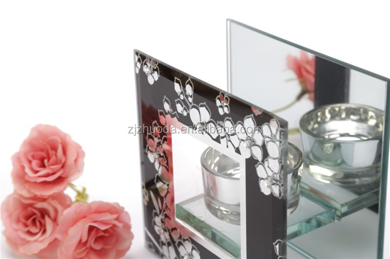Black Color Customized Design Glass Candle Holder Made In China