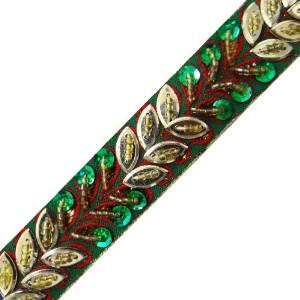 Traditional Sequin Lace Sewing Sari Border Tape Green Ribbon Trim RT355B