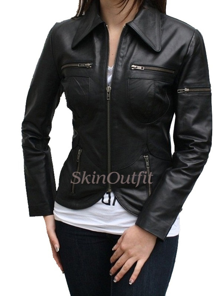 fashion leather jacket for women