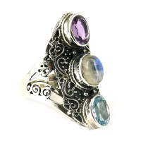 General Protection Amethyst_Blue Topaz_Rainbow Moonstone 925 Sterling Silver Ring, Silver Jewelry Exporter, Silver Jewelry
