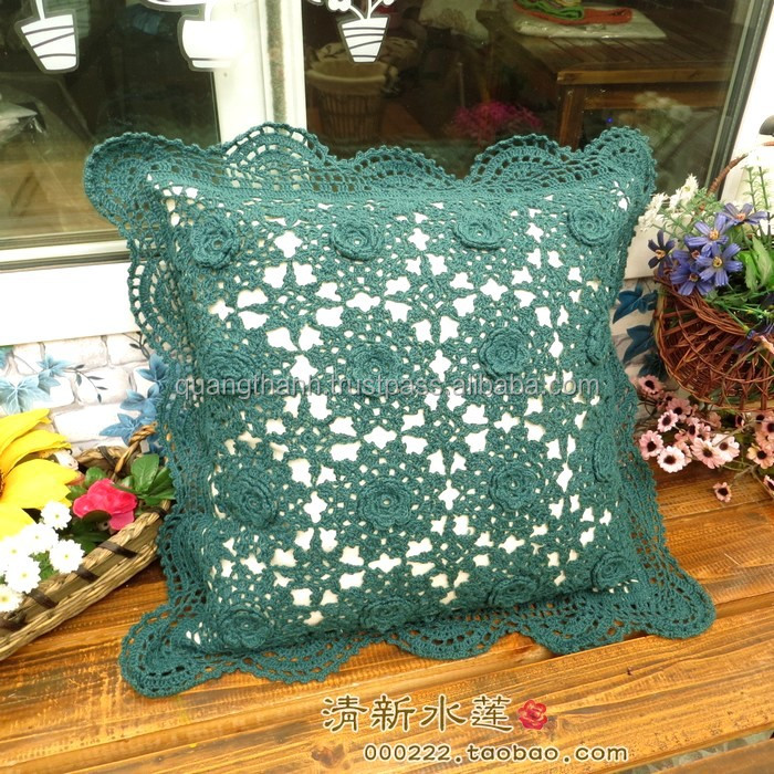 Crochet lace edges cushion cover buy crochet handbags - Cojines de ganchillo ...