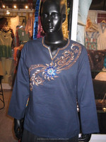 Plain dye cotton women wear tunic tops blue blouses , Latest embroidery printed tops