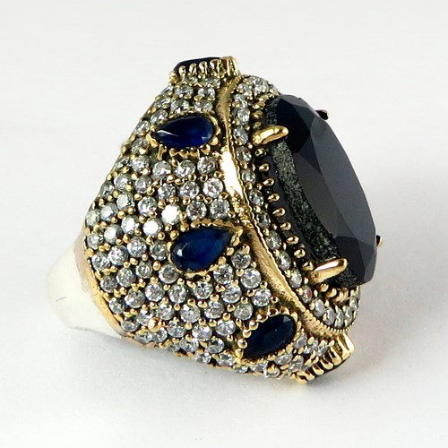Real Amazing Multi Stones 925 Sterling Silver Ring With Brass, Silver Jewellery, 925 Silver Jewelry
