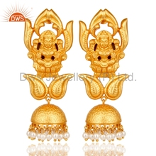 Gold Plated Temple Traditional Earrings Natural Pearl Gemstone Designer Jhumkas Manufacturers of Silver South Indian Jewelry