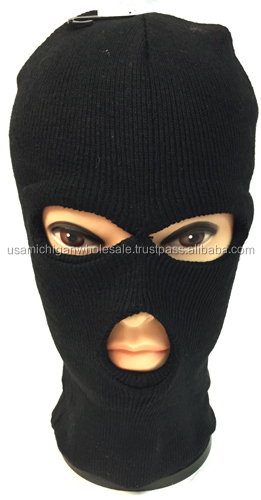 Unisex Black Ski Hat/Mask One Size Fits All
