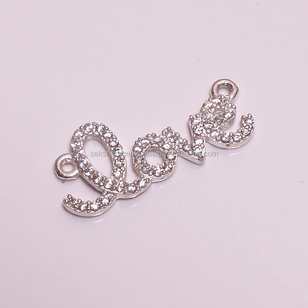 925 Sterling Silver LOVE Diamond Style Crystal Clear Cubic Zirconia CZ's Link Connector Clasp For Designer Valentine Jewelry