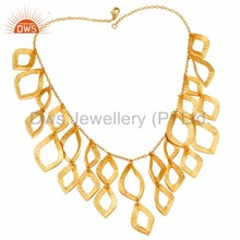 24K Yellow Gold Plated Traditional Handmade Art Brass Chain Necklace Jewellery Wholesaler And Supplier