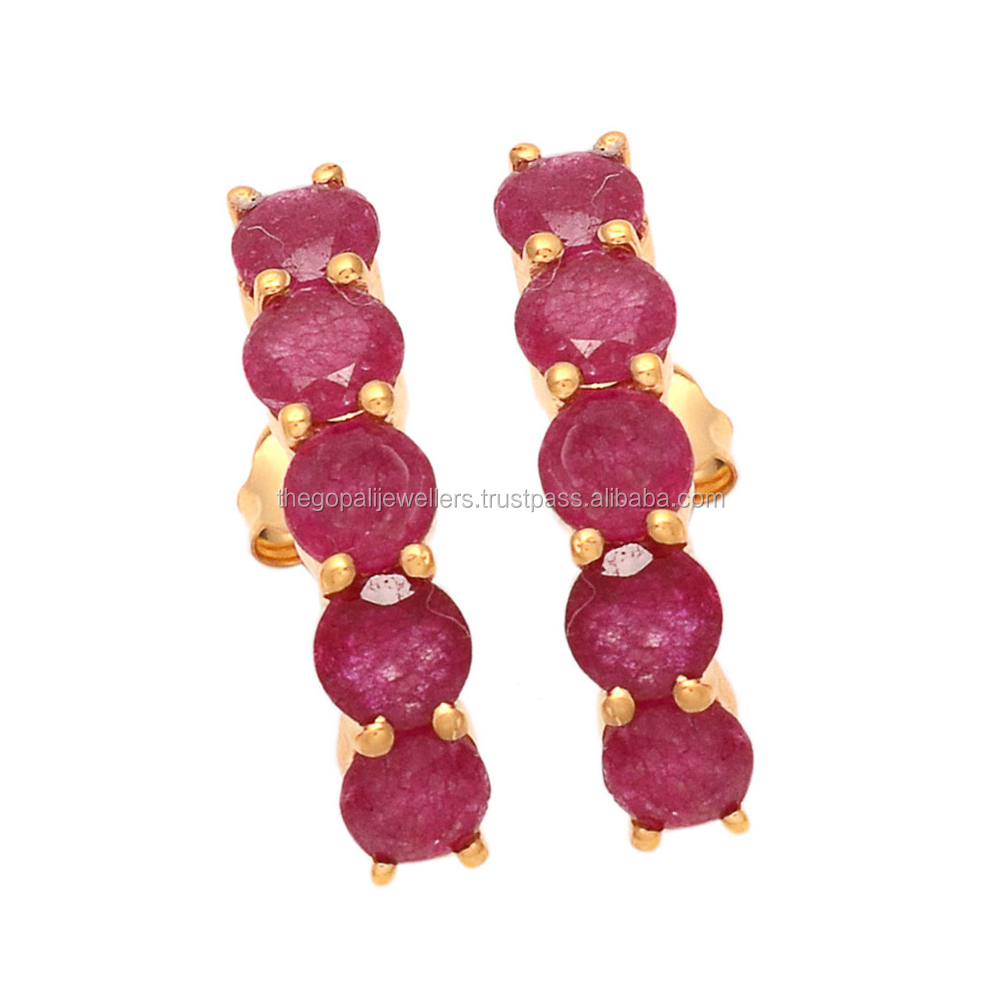Ultimate Daily Design Dyed Ruby Faceted Round Gold Plated Prong Earring