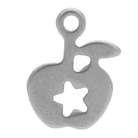 Stainless Steel Charm Pendants Apple Silver Tone Star Pattern Hollow Smooth 11mm x 8mm,20PCs