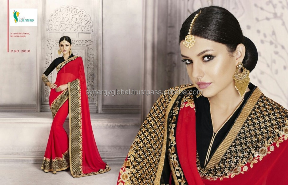 Bridal Marriage wear latest designs plain gerogette sarees with heavy border work - Wholesale sarees online India - Surat sarees