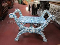 Roman style seater Bone Inlay Dresser Indian bone inlay stool for dressing room