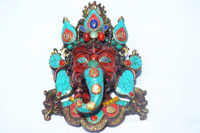"15"" Large Ganesh Mask Anitque Finish Colorful Indian Deity Ganesha Wall Hanging Decorative Art Figure"
