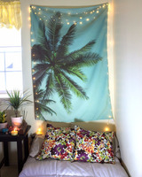 100% Organic Cotton Blanket Summer Palm Tree Beach Blanket & Wall Tapestry