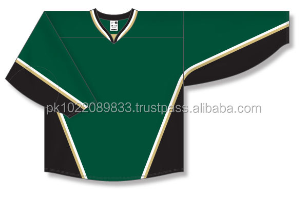 Custom Design Cut & Sewn Dark Green with Black/Vegas Gold/White Panels Ice Hockey Jersey/Shirt