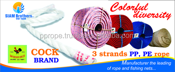 high quality pp rope 3 strands diameter 3.0MM - 60.0MM
