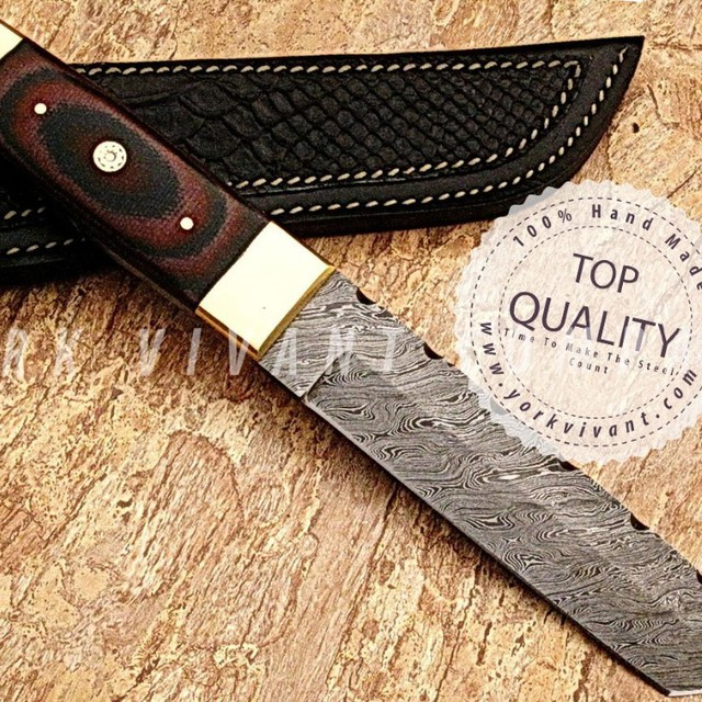 York Vivant-Custom Handmade Damascus Fixed Blade Skinner/Hunting Knife YV-AB61 Tanto Blade-Micarta+Mosaic Pin+Brass Handle