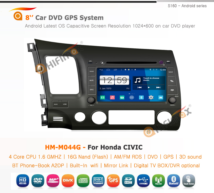 HIFIMAX Android 4.4.4 Android car dvd for honda civic 2006 2007 2008 2009 2010 Left Hand Drive 7 inch car gps navigation system