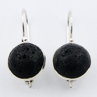 Exciting Round Volcanic Lava Drop Earrings 925 Sterling Silver