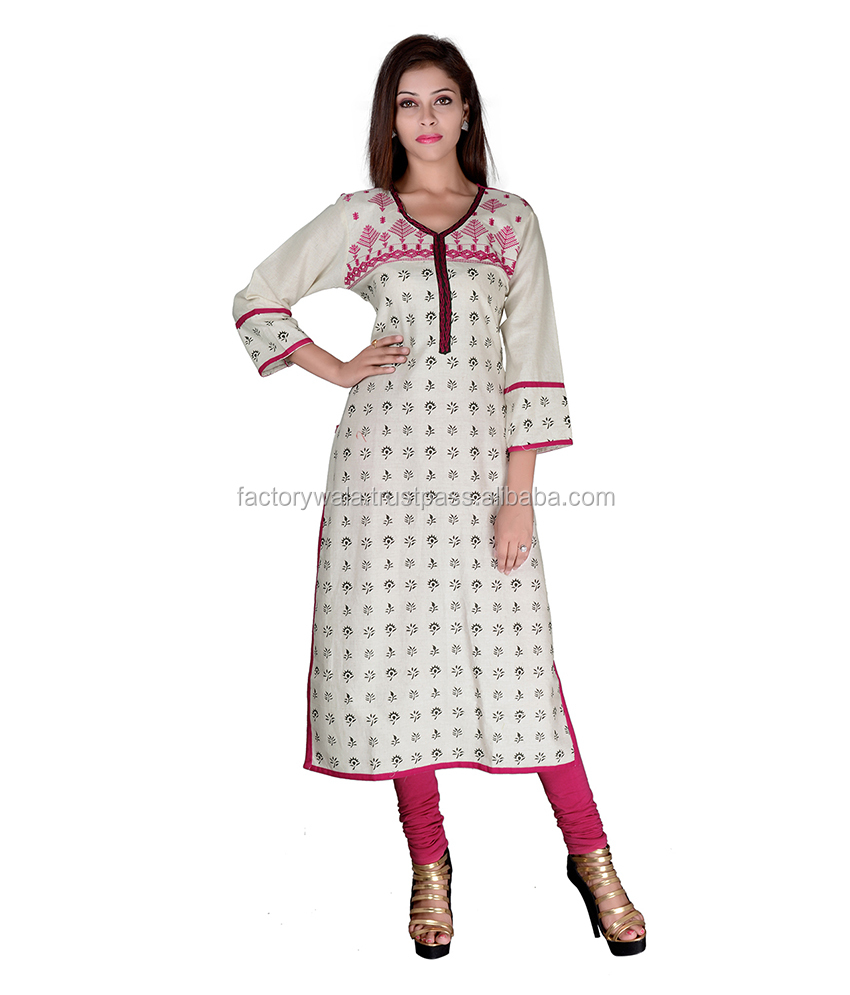 Factorywala Designer Cream Color Casual wear Printed Kurti/kurta/Dress For womens/girls