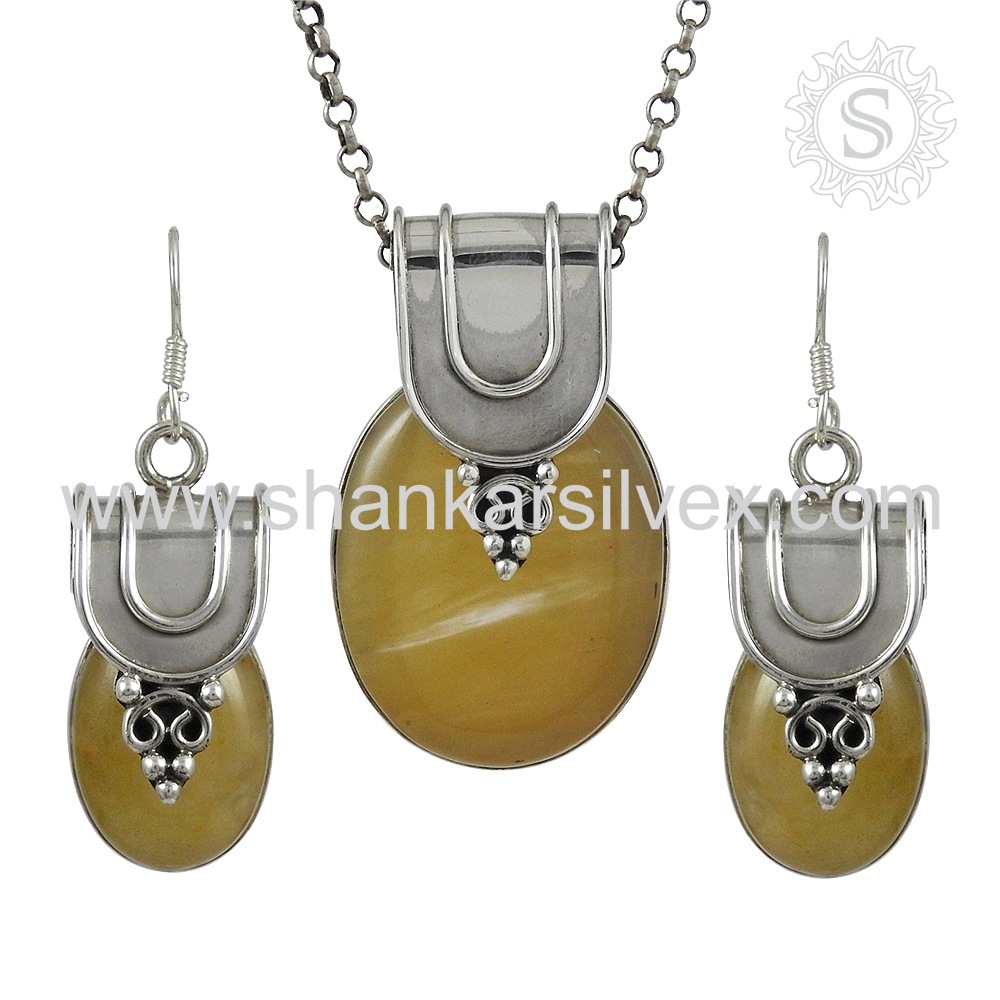 Latest Gemstone Jewelry Yellow Aventurine Set Handmade Silver Jewelry Exporter 925 Silver Jewelry