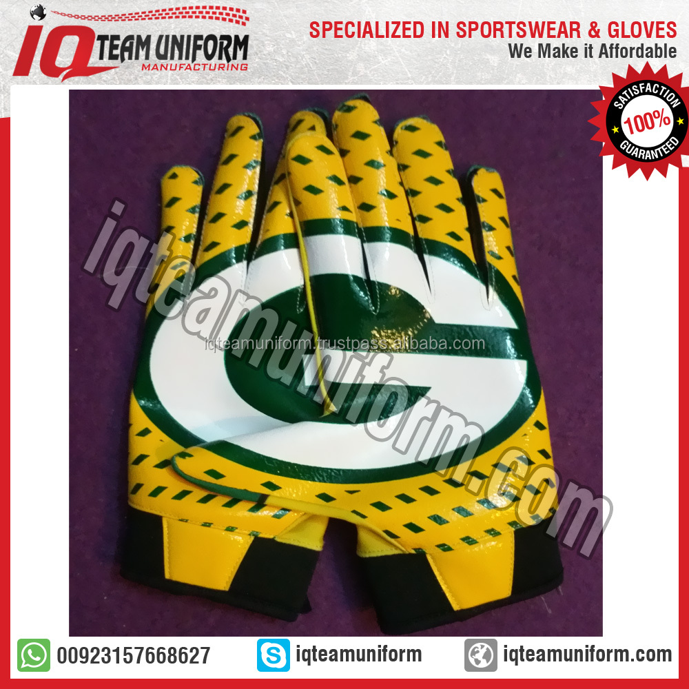 green bay packers football gloves, packers american football gloves for skill player, american receiver football gloves