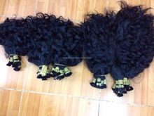 100% natural silky wavy remy bulk hair tangle free shedding free