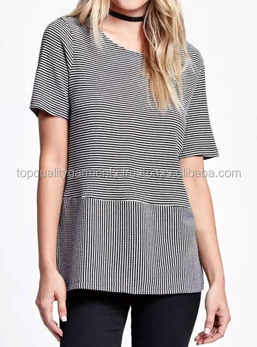 Beautiful Black and white Striped style Sweatshirt perfect cotton 100% pure Polyester Round Neck Half Sleeves Tshirt #532191215