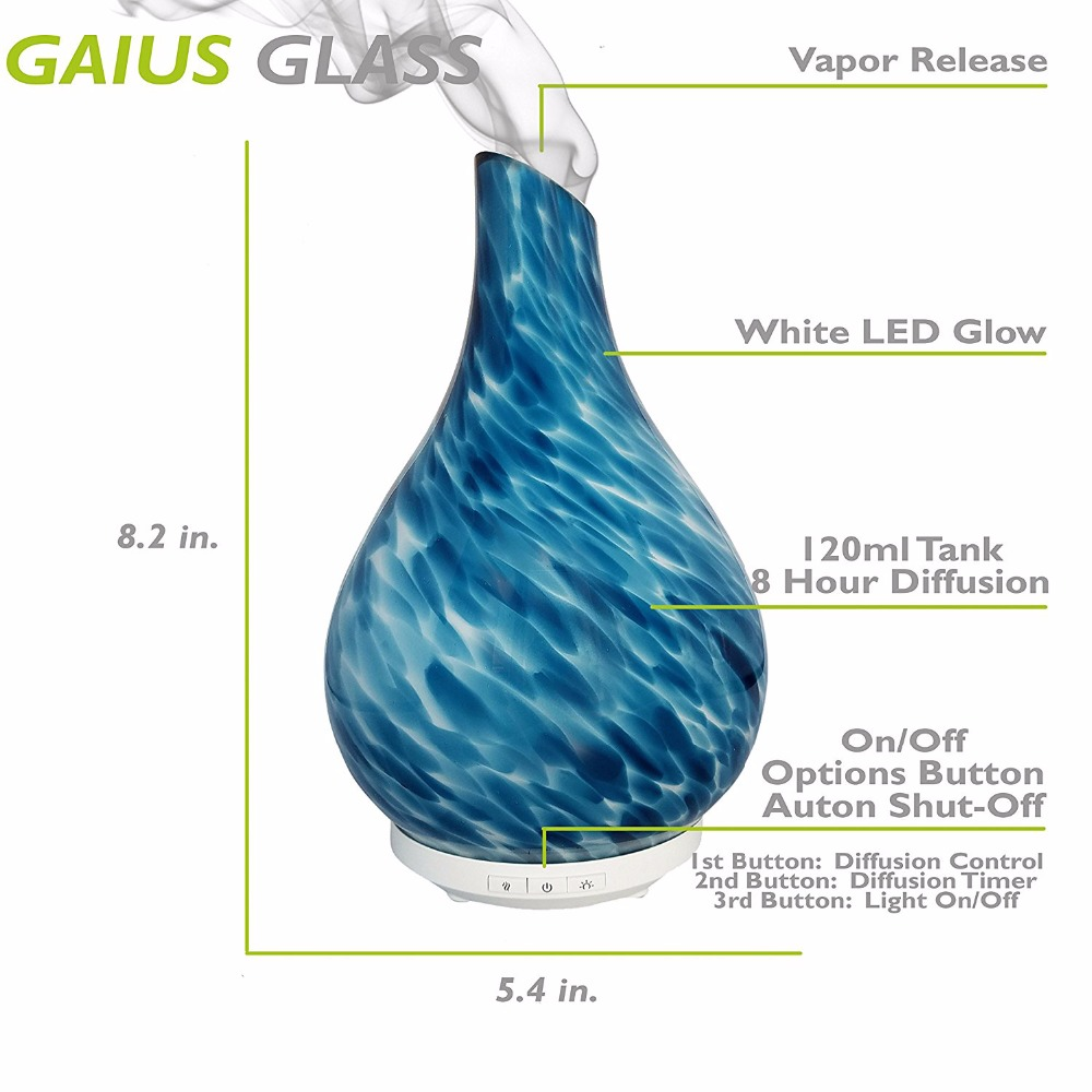 Gaius - Hand Blown Glass, LED Light, Ultrasonic Diffuser for Aromatherapy Essential Oils