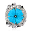 18kt Gold Double Cut Diamond Carving Sapphire Turquoise Flower Design Cocktail Ring Jewelry