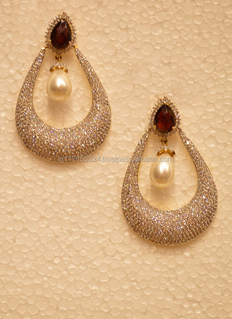 Studded drop ball golden earring