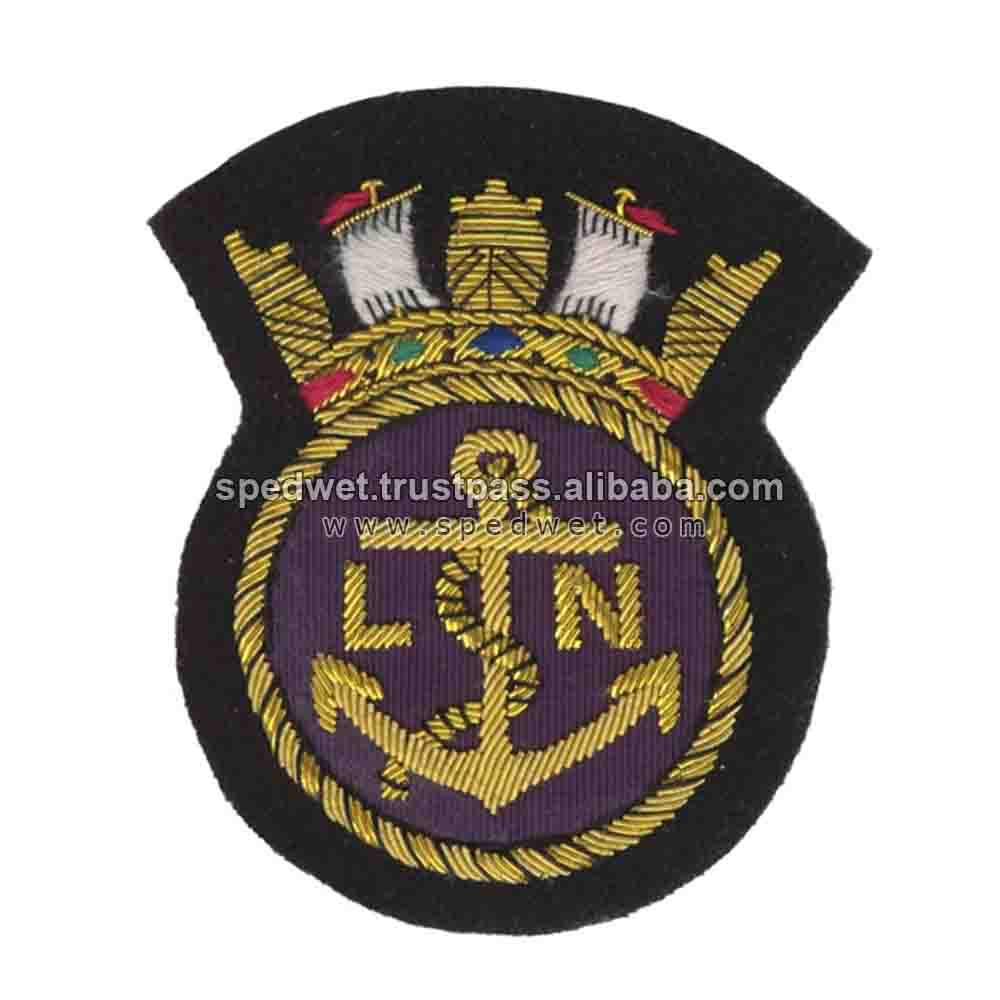 Naval crest royal navy blazer badge | Gold wire bullion officer cap emblem