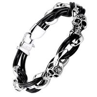 Stainless Steel Bracelet with cowhide real leather genuine leather skull devil demon crossbones for man & blacken 12mm