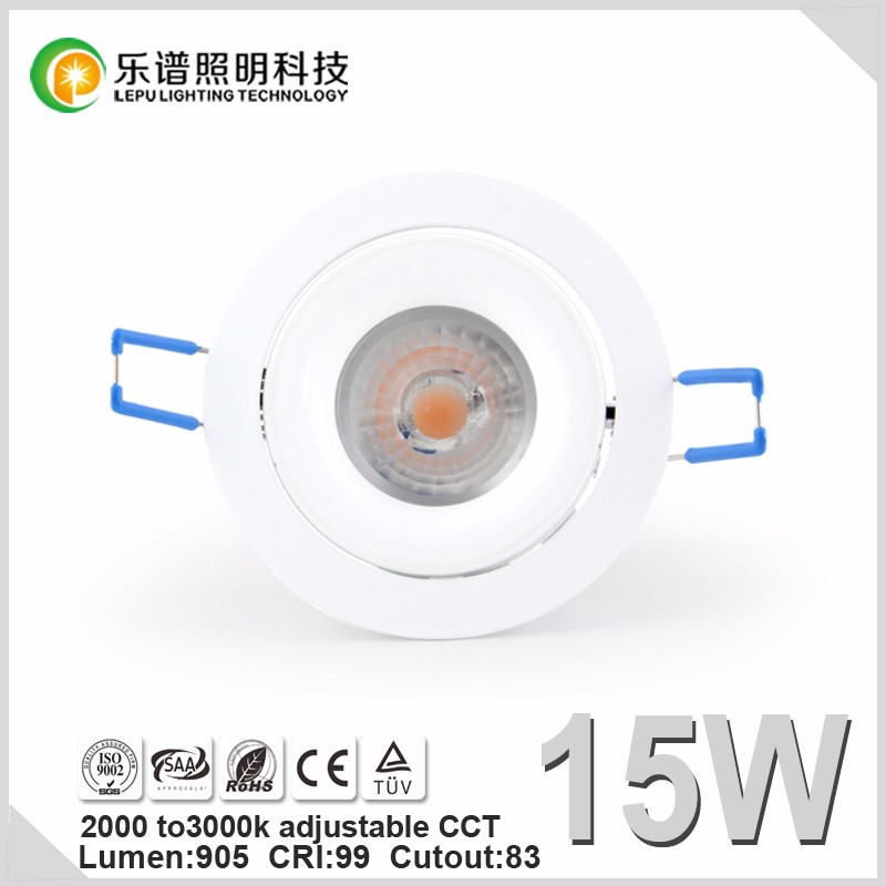 8w/13w /15w sunset dim china led manufacturer led downlight with reflector lens 0-100% dimming warm white cut 83mm