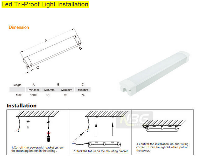 New arrival 120 beam angle CRI80 60W LED tri-proof light 1.2m IP65 led tube light triproof