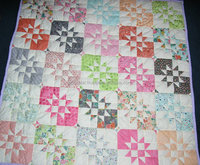 Hand Made Patchwork Quilt/ Throw 652''X52'' HAND QUILTED Contrasting Star Block Design In Light Modern Shades doonas quilt cover