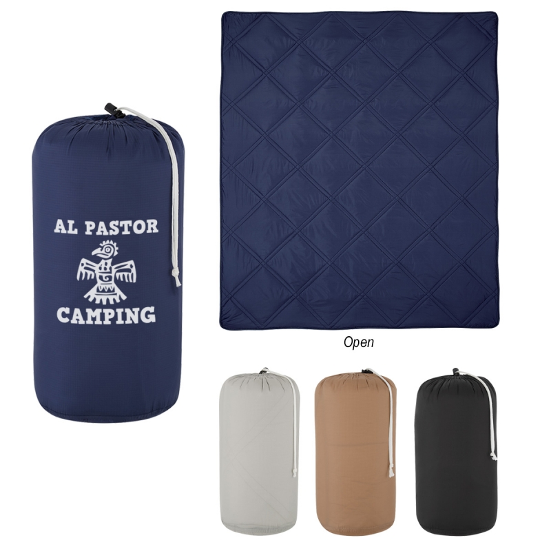 "Deluxe Roll-Up Blanket - measures 50"" x 60"", made from 40D nylon ripstop, features a nylon pouch and comes with your logo"