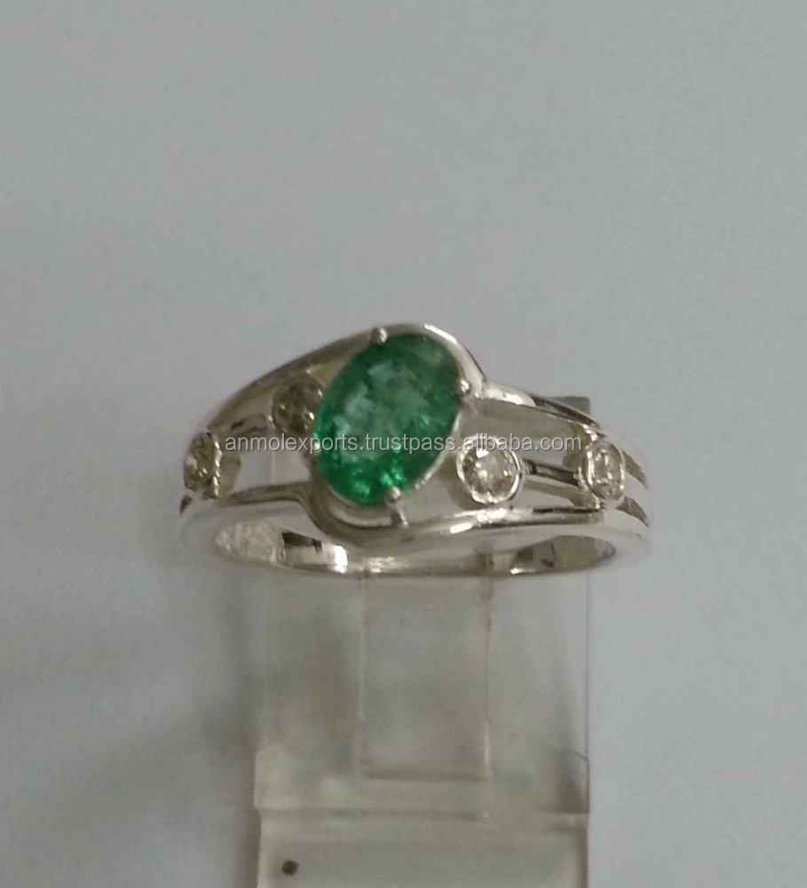 Emerald Design Ring, Manufacturer 92.5 Sterling Silver jewelry wholesale,Gemstone jewelry