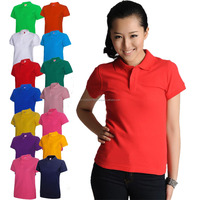 Solid Color Women b font Classic Business Polo t shirt