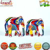 Abstract Design Hand Painted Wooden Home Decor Artifacts - elephant souvenirs elephant decor elephant figurines