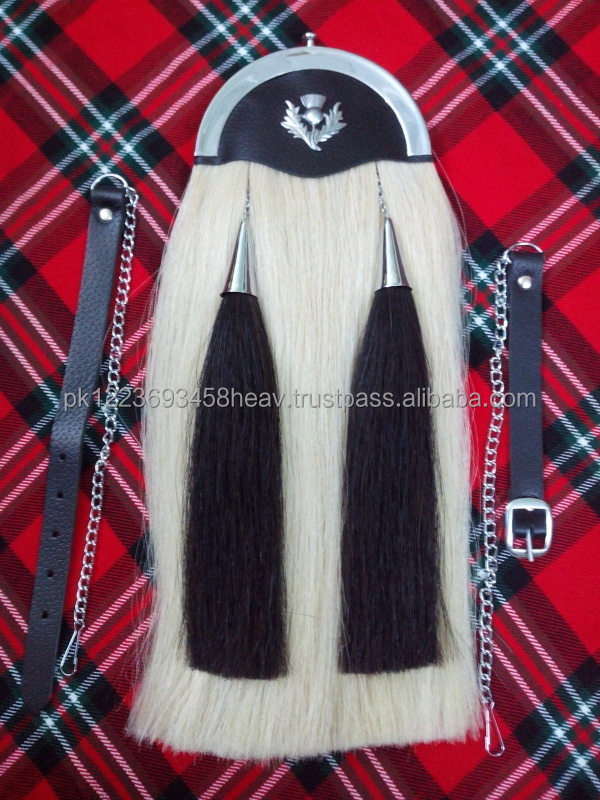 Original Horse Hair Sporran with Plain Cantle white Hairs Cowhide Leather Full Dress