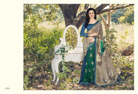 Green Print Work Georgette Casual Saree/fancy saree blouse designs/wholesale saree