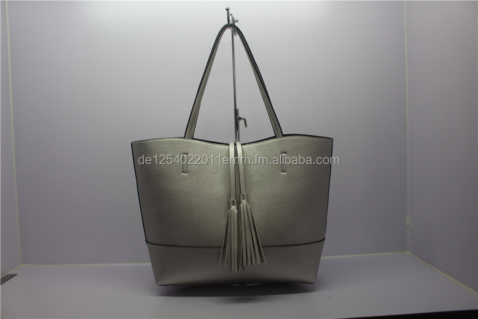 EX GERMANY! SALE of Stock Handbag in silver colour, 36x30x13cm, Polyurethan