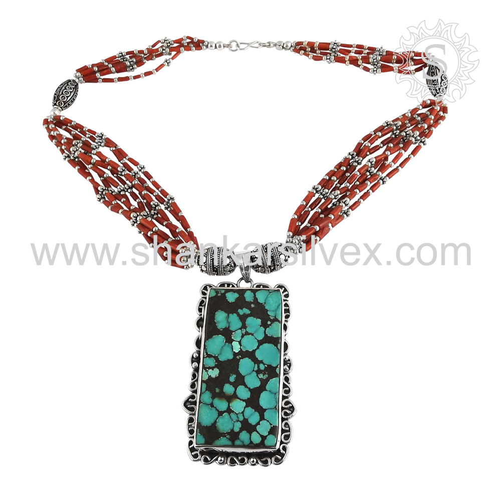 Exquisite Fashion Of Coral Turquoise Jewelry Necklace 925 Sterling Silver Jewelry Wholesaler