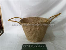 Multi-function seagrass shopping bag natural straw basket with handles