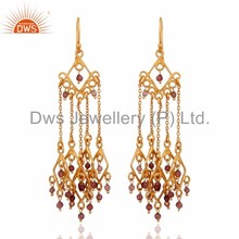 Pink Tourmaline Gemstone Chandelier Earring Wholesale Gold Plated 925 Sterling Silver Earrings Manufacturer of Gemstone Jewelry